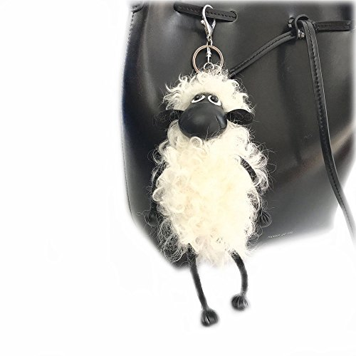 Sheep Key chain Pompom Real Wool Fur Keychain Wool Sheep Pendant Women's Bags Hanging