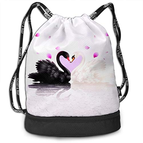 Kkf Gymsack Swan White and Black Love Print Drawstring Bags - Simple Gym Shoulder -
