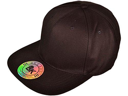 Wholesale Cotton Flat Bill Blank/Plain Snapback Hats w/ Green Underbill (Black) - 21044