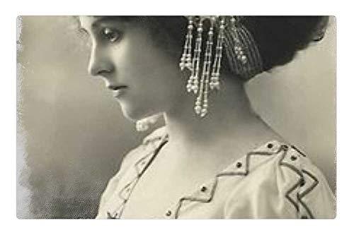 Tree26 Indoor Floor Rug/Mat (23.6 x 15.7 Inch) - Vintage Woman Art Collage Hair Pearls Photo 1