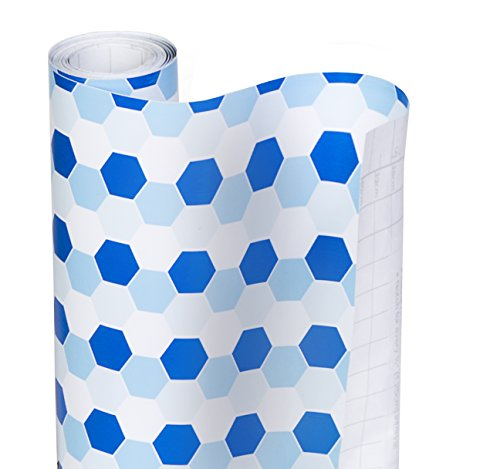 Smart Design Shelf Liner w/Decorative Adhesive - Wipes Clean - Cutable & Removable Material - Easy Peel Design - Shelves, Drawers, Flat Surfaces - Kitchen (18 Inch x 20 Feet) [Hydrangea Honeycomb]