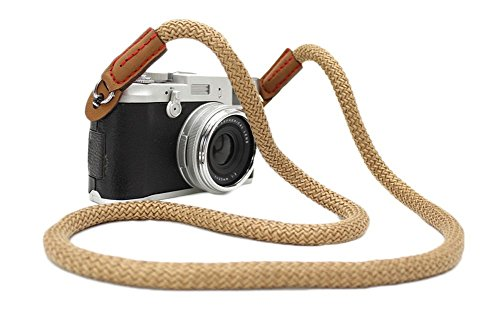 (DOROM Vintage Handmade Cotton Leather Camera Neck Strap for Leica Nikon Fuji Pentax Canon Panasonic Sony Coffee Long)