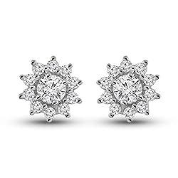 Women's Natural Diamond Star Halo Stud Earrings