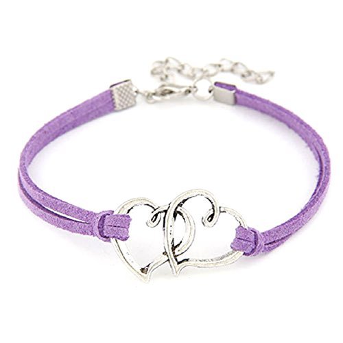 lowpricenice-women-love-heart-handmade-alloy-rope-charm-jewelry-weave-bracelet-dark-purple