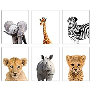 DecorShop Cute Animal Nursery Decor | Set of 6 Unframed 8x10 Animal Wall Art Printed on Thick Cardstock | Bring Happy Colors into Your Nursery Wall Decor (Safari A)