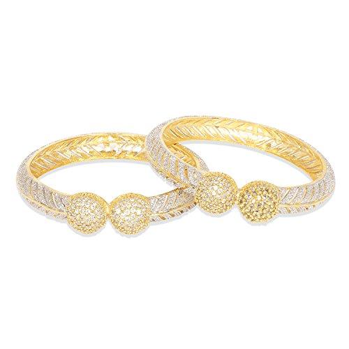Ratna creation Beautiful Gold Plated Indian Diamond Bangle Set Women American Diamond Bangle Bracelet Set Jewellery (2.8)