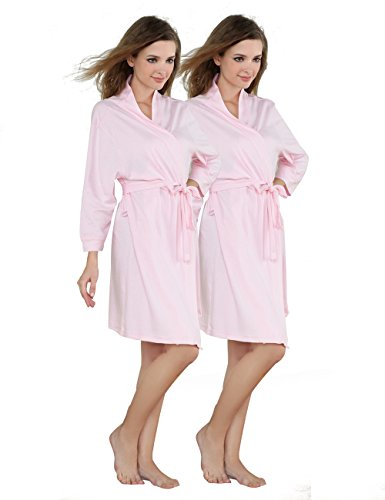 Godsen Women's Comfort Cotton Sleepwear Bathrobe (S, 2 PACKS (Glamour Nightgown)