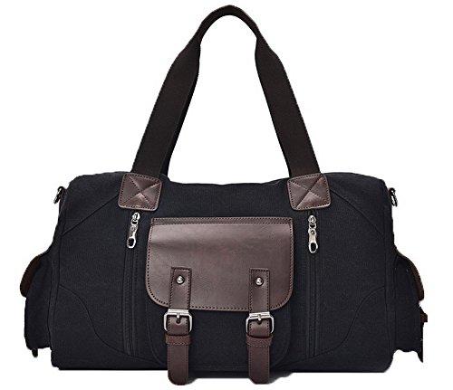 Voguezone009 Women Travel Bags Weekender Canvas Shoulder Bags Crossed, Black Ccaybp181122