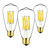 GEZEE ST64,3-Pack,Warm White 4000K,Vintage Edison Style,LED Filament Light Bulb,E26 Medium Base Lamp,10W,1000LM,100W Incandescent Replacement,for Decorate Home,Reading Room,Office.