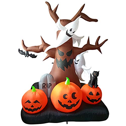 Phoenixreal 8 Foot Halloween Inflatable Airblown Spooky Dead Tree with Pumpkins, Ghosts, Tombstone and Black Cat Lighted for Home Yard Garden Indoor and Outdoor Decoration