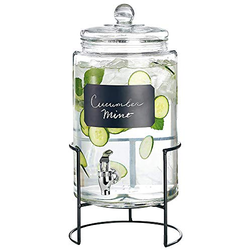 Style Setter 210174-JGB Artesia 2 Gallon Glass Beverage Drink Dispenser with Metal Stand & Glass Lid, 9x16, Clear
