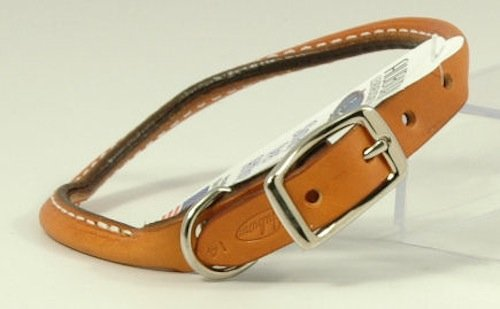 Auburn Leather Pet Dog Collar Round Rolled Tan 14