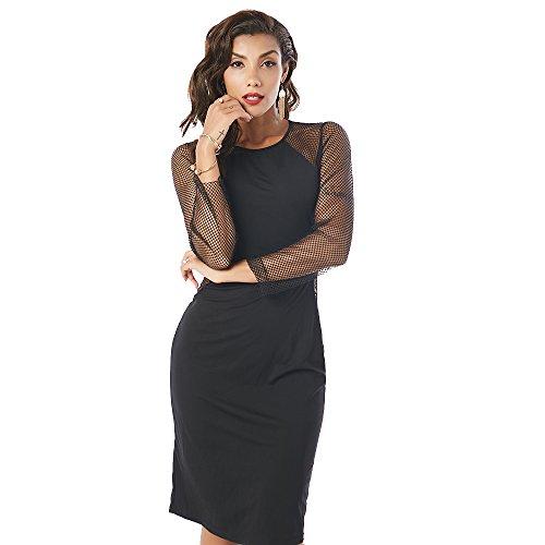 Mesh Beauty Black Sexy Women Sheer Hollow Dresses Out Garden Patchwork q6g1w6nBCx