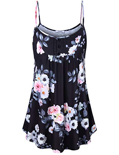 Flow Sleeveless - Youtalia Floral Shirts for Women, Girls Camisole Tanks Tops Summer Scoop Neck Sleeveless Stretchy Flow Hem A Line Swing Tunic Tank Multicolor Black Medium
