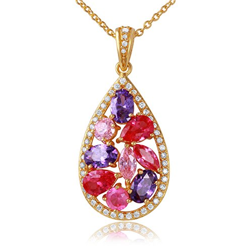 Gold Plated Silver Multi Pink Gem Stone Scattered Pear Pendant-18