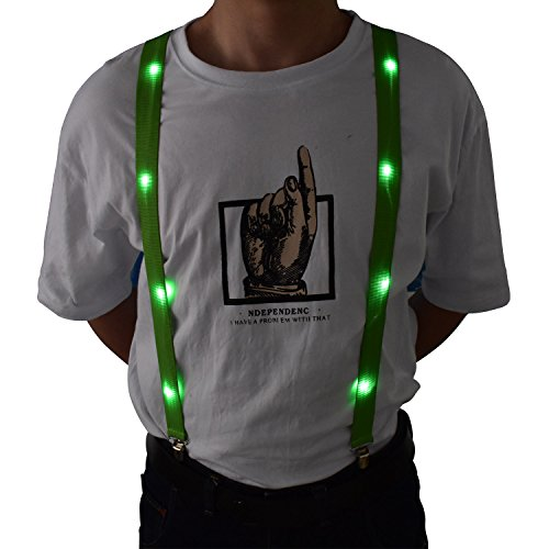 LED Glow Light Up Suspenders Trouser Braces Y Shape Suspenders (Green) + -