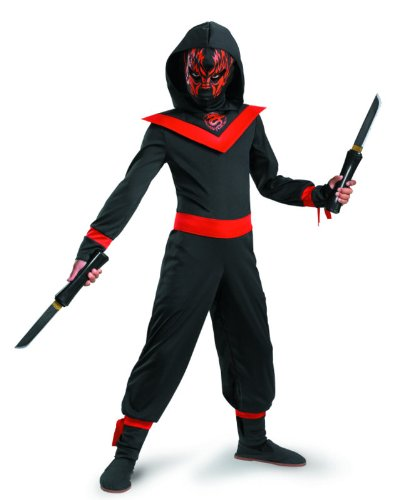 Glow Away Neon Ninja Costume, Black/Red, Medium/7-8]()