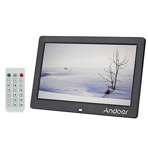 Andoer 10.1inch Digital Photo Frame, Wide Screen High Resolution Digital Photo Picture Frame HD Alarm Clock MP3 MP4 Movie Player with Remote Control
