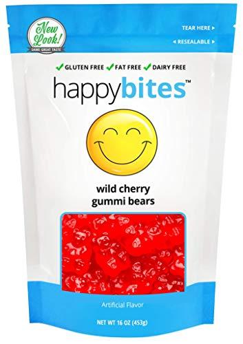Happy Bites Wild Cherry Gummi Bears - Gluten Free, Fat Free, Dairy Free - Resealable Pouch (1 Pound) ()