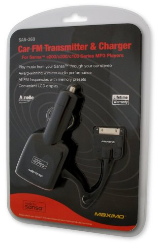 Maximo FM Transmitter and Car Charger for Sansa MP3 Players