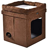 AmazonBasics Collapsible Cube Cat Bed - 15 x 15 x 17 Inches, Brown