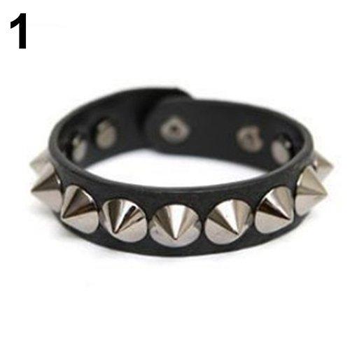 Aland Couple Bracelet,Punk Gothic Rock Faux Leather Rivet Stud Spike Bracelet Cuff Bangle Wristband Black