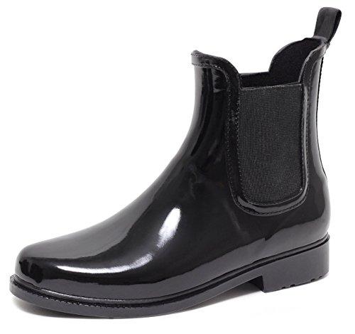 CHELSEA Rain Boot Regenstiefelette Gummistiefelette Regenstiefel Gummistiefel Reitstiefelette Stiefel SCHWARZ Gr. 37–41