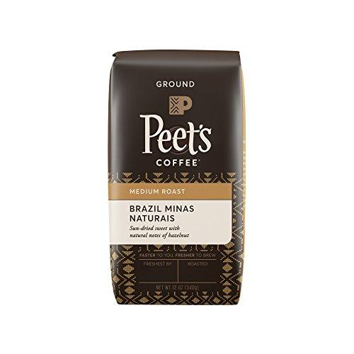 Peet's Coffee, Brazil Minas Naturais, Medium Roast, Ground Coffee, 12 oz. Bag, Single-Origin Coffee, Smooth, Full Bodied Medium Roast Coffee From Brazil, with Mild Notes of Fruit & Hazelnut