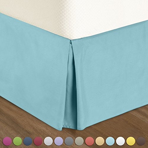 """Pleated Bed-Skirt King Size – Light Blue Luxury Double Brushed 100% Microfiber Dust Ruffle, 12"""" inch Tailored Drop by Urban (Drop Blue Dust)"""