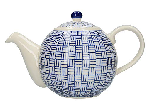 London Pottery Out of the Blue Globe Teapot with Strainer, Stoneware, Navy Blue Lattice Design, 4 Cup (900 ml)