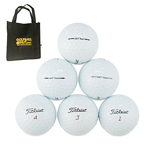 Golf Balls With Logo (50 Titleist NXT Tour Mix AAAA Near Mint Used Golf Balls With Tote Bag)