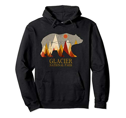 Retro Glacier Grizzly Bear Hoodie National Park Gift