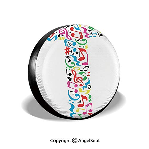 Spare Tire Cover,Uppercase T Letter Colorful Sheet Music Elements Font Alphabet Design Art Style Decorative,Multicolor,for Jeep Trailer SUV RV and Many Vehicles,16 Inch