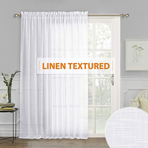 Linen Sheer Curtains Thick White Window Curtain Panel Privacy Protect Sunlight/UV Faded for Large Window/Sliding Glass Door/Patio Door, 100 x 84 inch ()