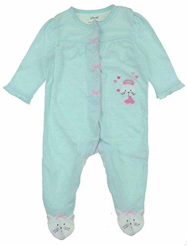 - Little Me Girls 1 Piece Snug Fitting Zip or Snap Up Sleeper Pajama (9M, Aqua)