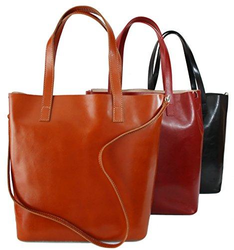 7cde47c2d8918 ... Sa-Lucca echt Leder Shopper Handtasche Damentasche Tasche Ledertasche  cognac MADE IN ITALY