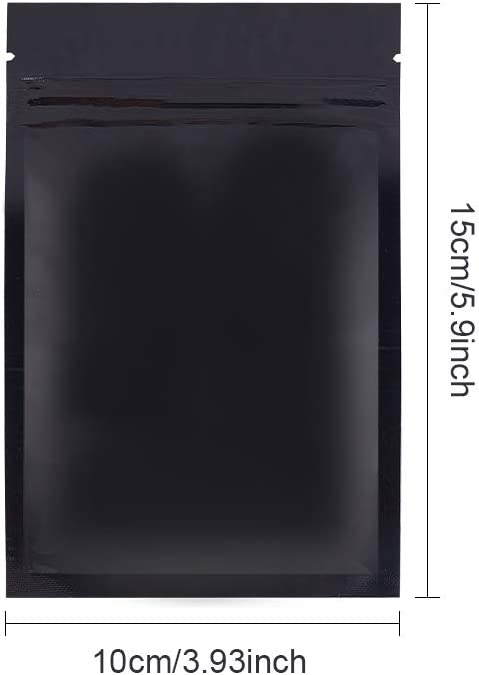 einlagige Dicke: 0,08mm BENECREAT 150 Packs 10x7cm Wiederverschlie/ßbare schwarze Mylar-Beutel Aluminiumfolie Rei/ßverschlusstaschen f/ür die Aufbewahrung von S/ü/ßigkeiten Kaffee
