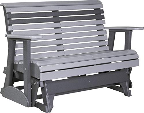 Furniture Barn USA Outdoor 4' Rollback Glider - Dove Gray and Slate Poly Lumber - Recycled Plastic