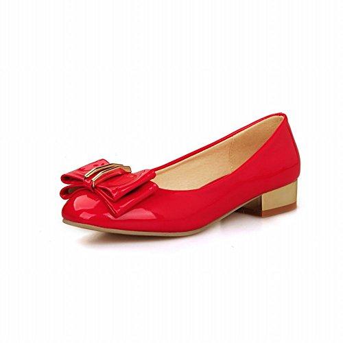 Carol Schoenen Sweet Dames Strikjes Manchet Grace Fashion Lage Dikke Hak Loafers Schoenen Rood
