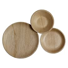 Table To Go 75-Piece Palm Leaf Round Dinnerware Set, Brown