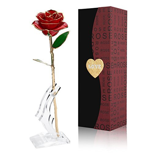 Valentines Day Gift Gift (Love Forever Long Stem Gold Foil Trim Red Rose Flower with Transparent Stand, Best Gift for Valentines Day, Mothers Day, Anniversary, Birthday Gift, Treating Yourself, Galentine's Day ( Red ))