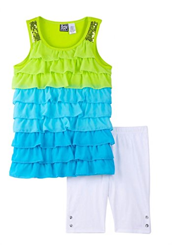 Pogo Club Toddler Girls Chiffon Tiered Top And Bike Shorts Set  2T  Bright Green