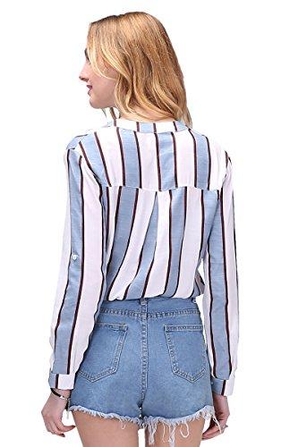 Dioufond® Camisas Mujer Rayas Manga Larga V-Cuello Blusas Casual para Mujer Azul