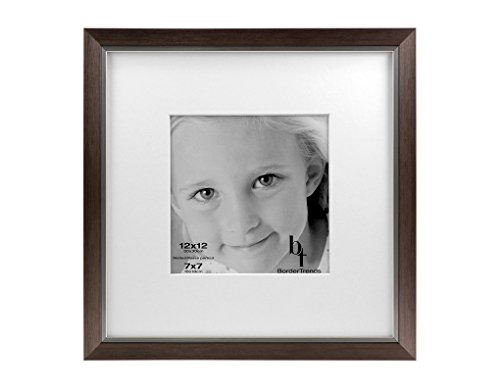 BorderTrends Legacy 12x12/7x7-Inch Photo Frame, Silver with White -