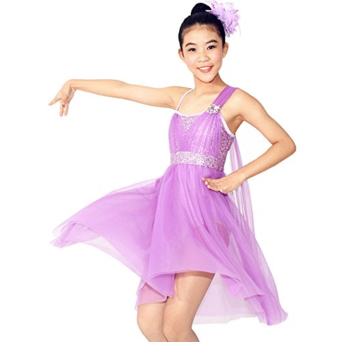 MiDee Dance Costume Tulle Athletic Dance Dresses for Girl's Camisole Sequined High-low (LC, Lilac)