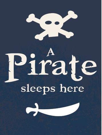 - Pirate Sign A Pirate Sleeps HERE for Child's Bedroom Door - Navy Blue Metal Sign / Plaque - Pirate Skull & Crossbones Design - 20cm x 14cm