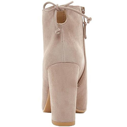 HooH Women Chelsea Boots Suede Pointed Toe Lace Up Chunky Ankle Boots Beige ajPIL1DX