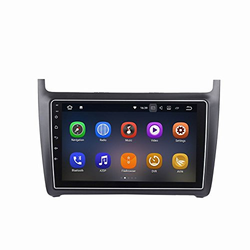 SYGAV Android 7.1.1 Car Stereo for 2012-2017 VW Polo 9 Inch Touch Screen Radio 2G Ram GPS Sat Navigation Head Unit Bluetooth FM/AM/RDS/WiFi/USB/SD/Mirrorlink by SYGAV