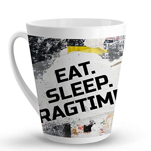 Makoroni - EAT SLEEP RAGTIME Music Musician - 12 Oz. Unique LATTE MUG, Coffee Cup