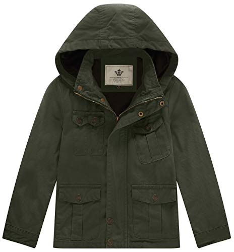 WenVen Boy's & Girl's Cotton Jackets with Removable Hood, Army Green, 4-5Y ()
